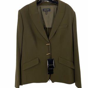 Escada virgin wool green fierce blazer size 16